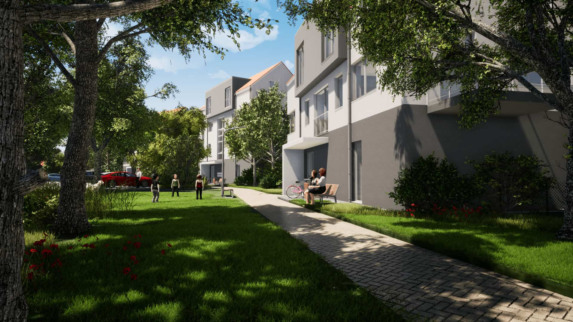 Vizualizace viladům Zelená rezidence