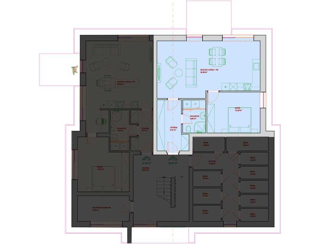 Bytový dům A - D 1.NP - Zelená rezidence