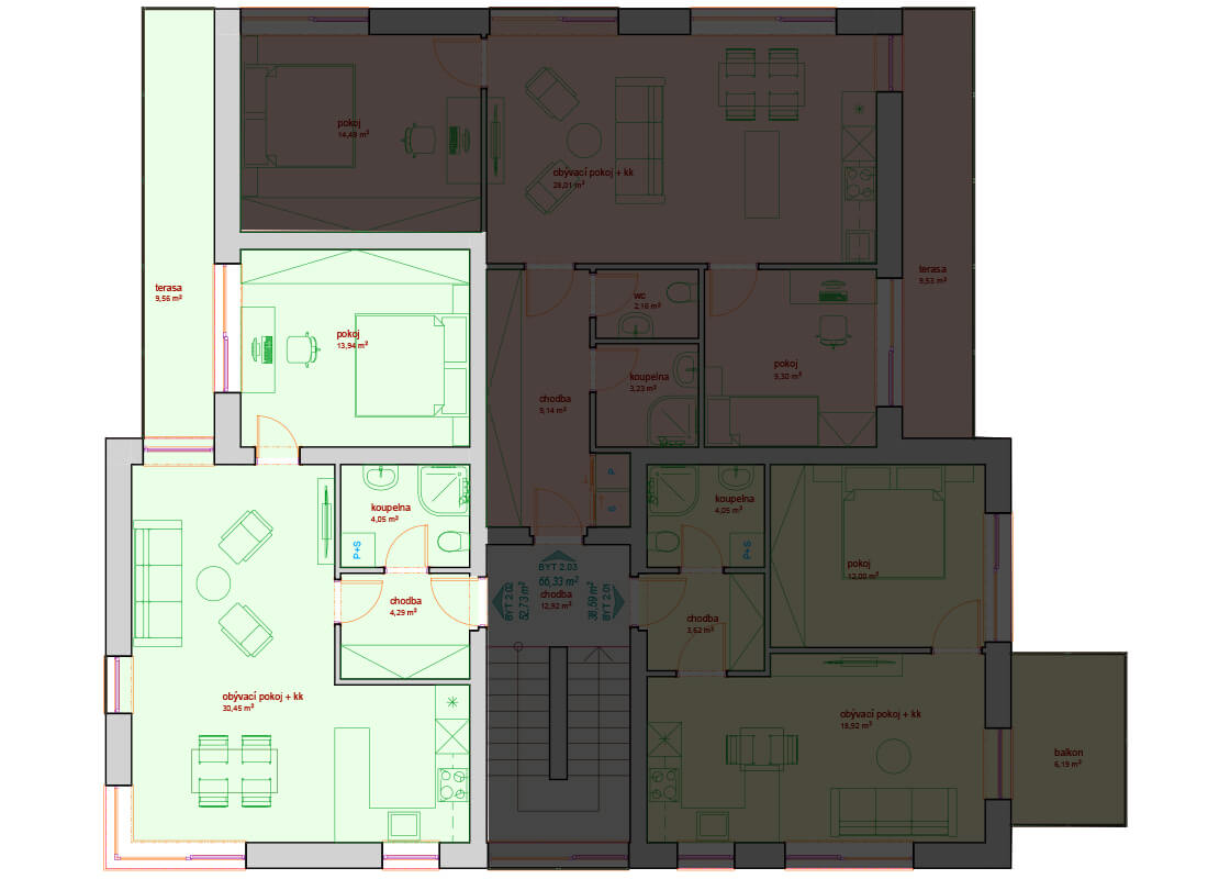 Bytový dům A - D 2.NP - Zelená rezidence