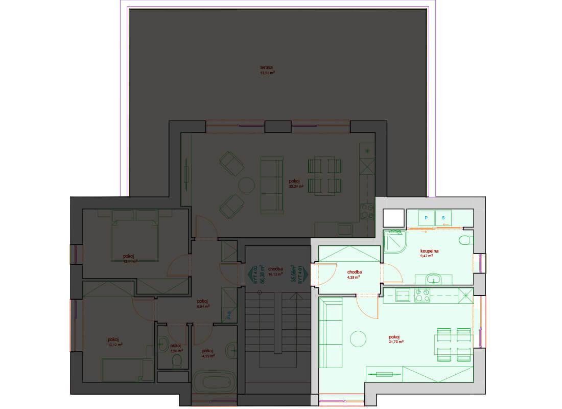 Bytový dům A - D 3.NP - Zelená rezidence