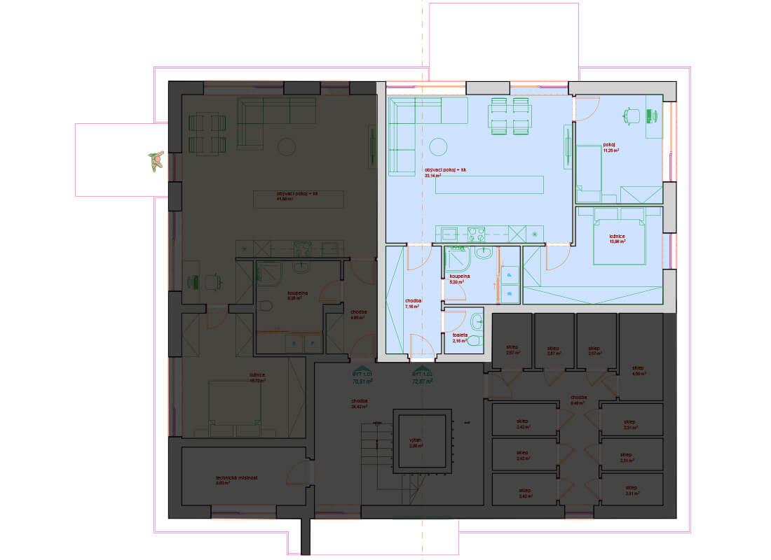 Bytový dům B - C 1.NP - Zelená rezidence