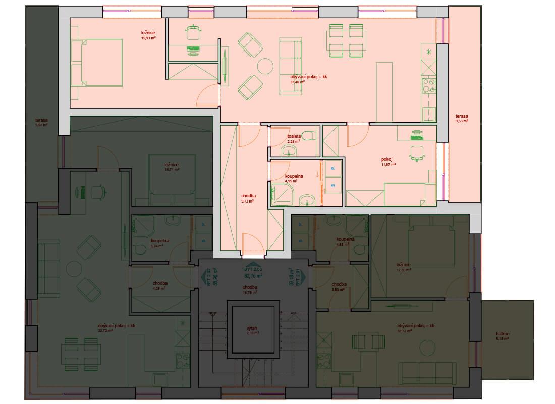 Bytový dům B - C 2.NP - Zelená rezidence