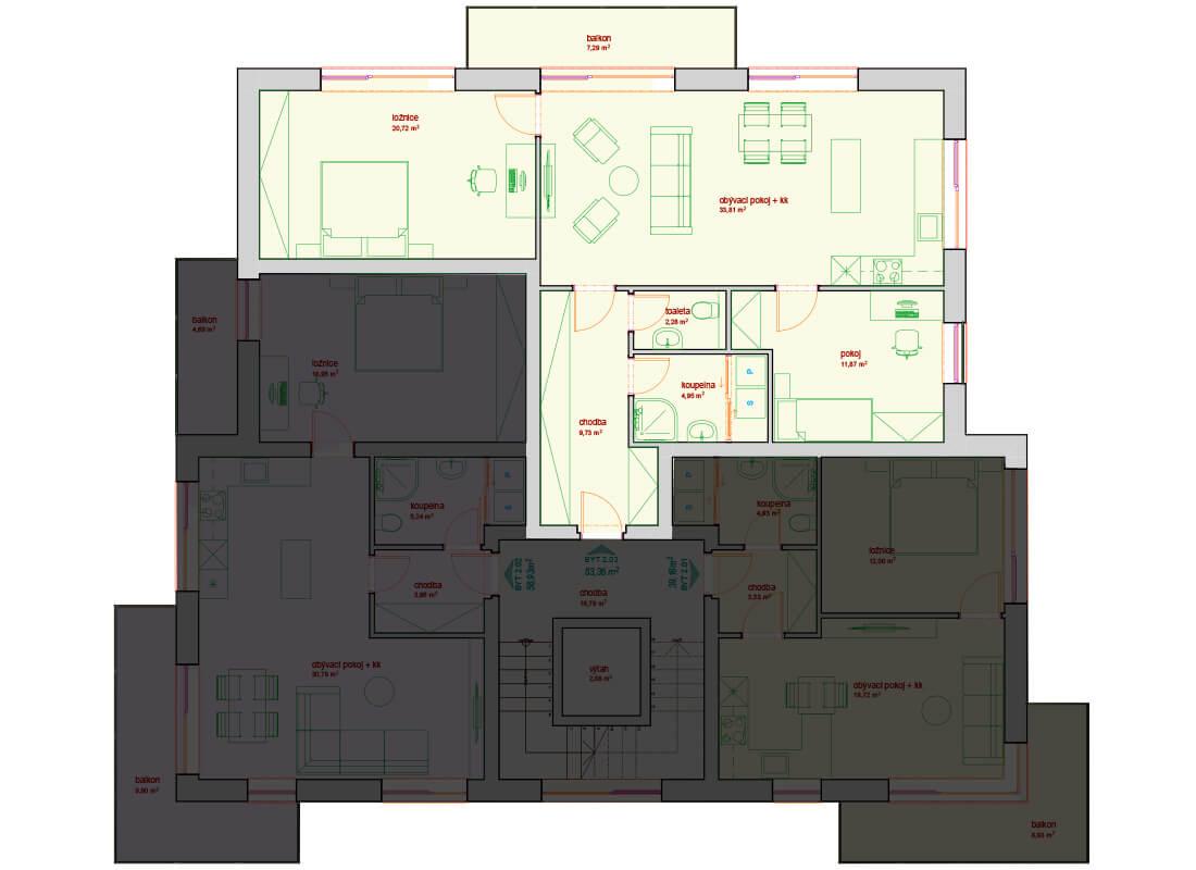 Bytový dům B - C 3.NP - Zelená rezidence