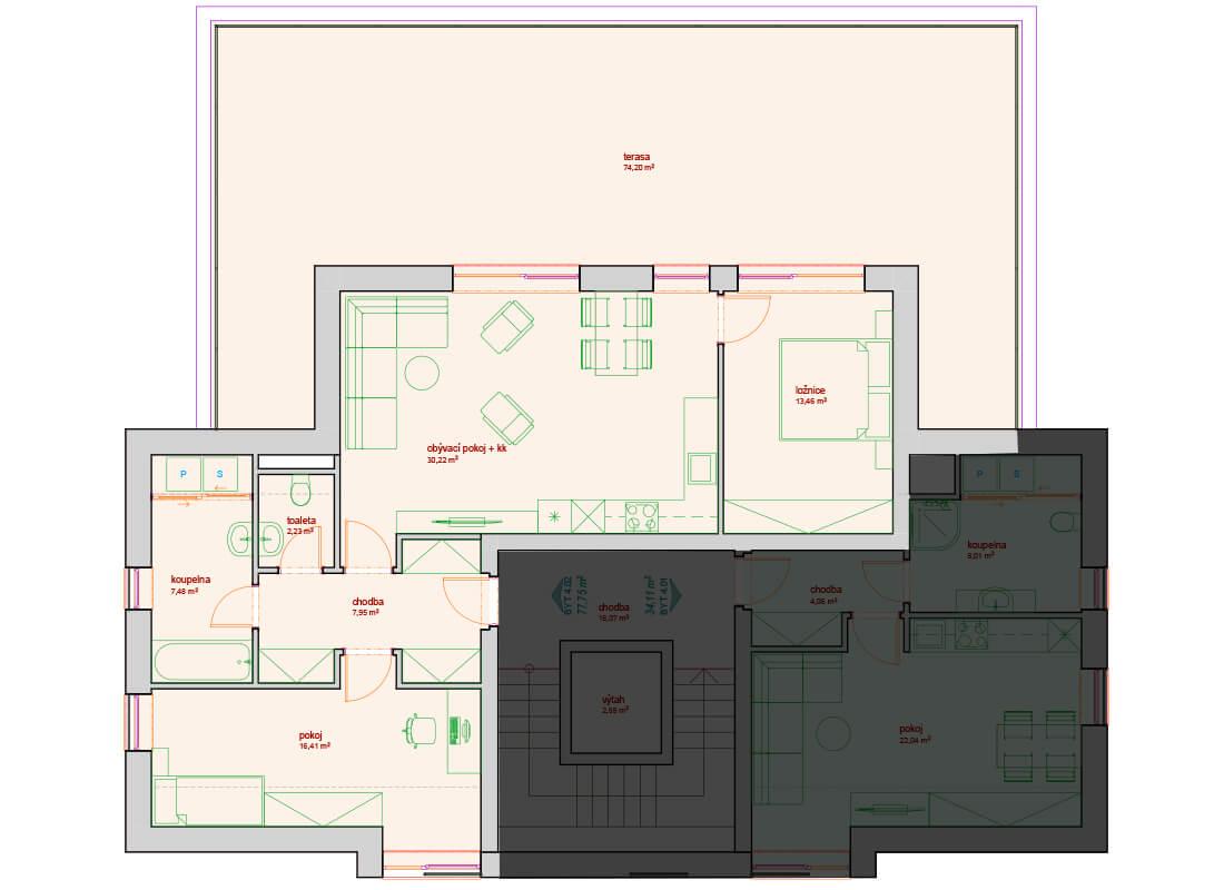 Bytový dům B - C 4.NP - Zelená rezidence