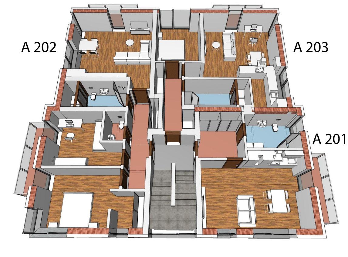 Půdorys 2.NP bytového domu A