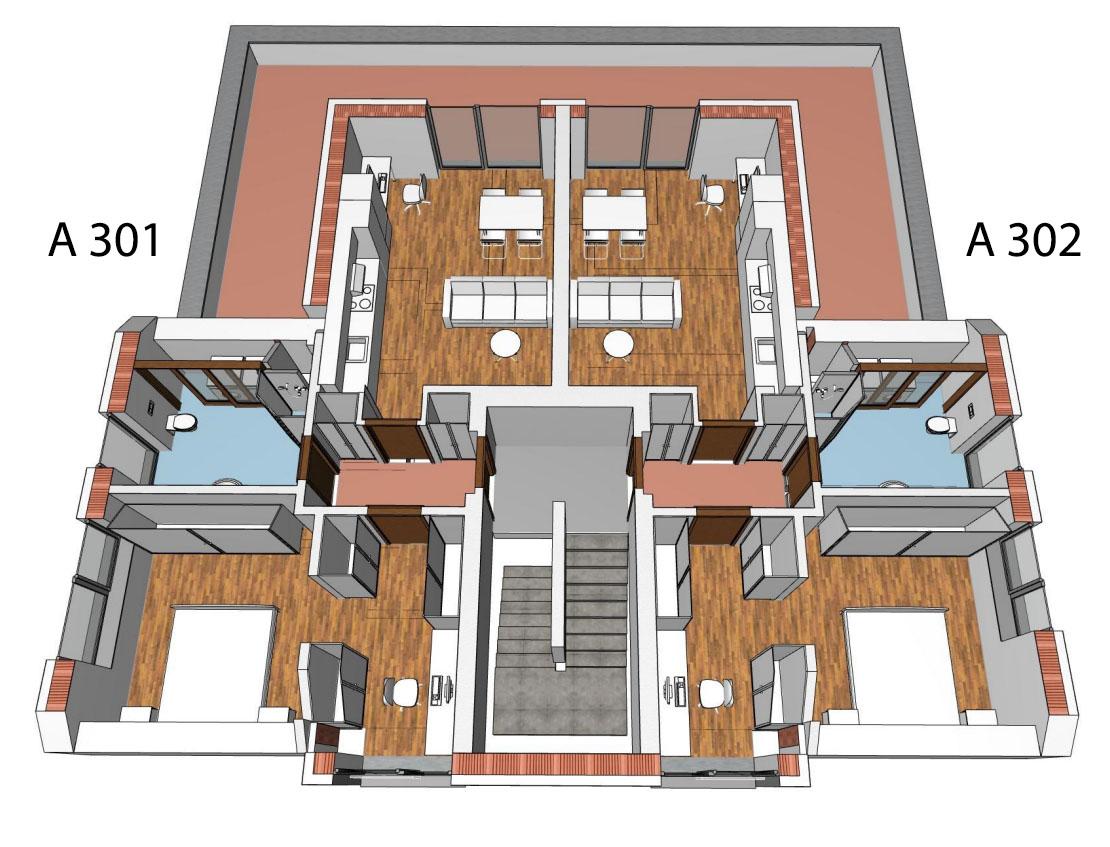 Půdorys 3.NP bytového domu A
