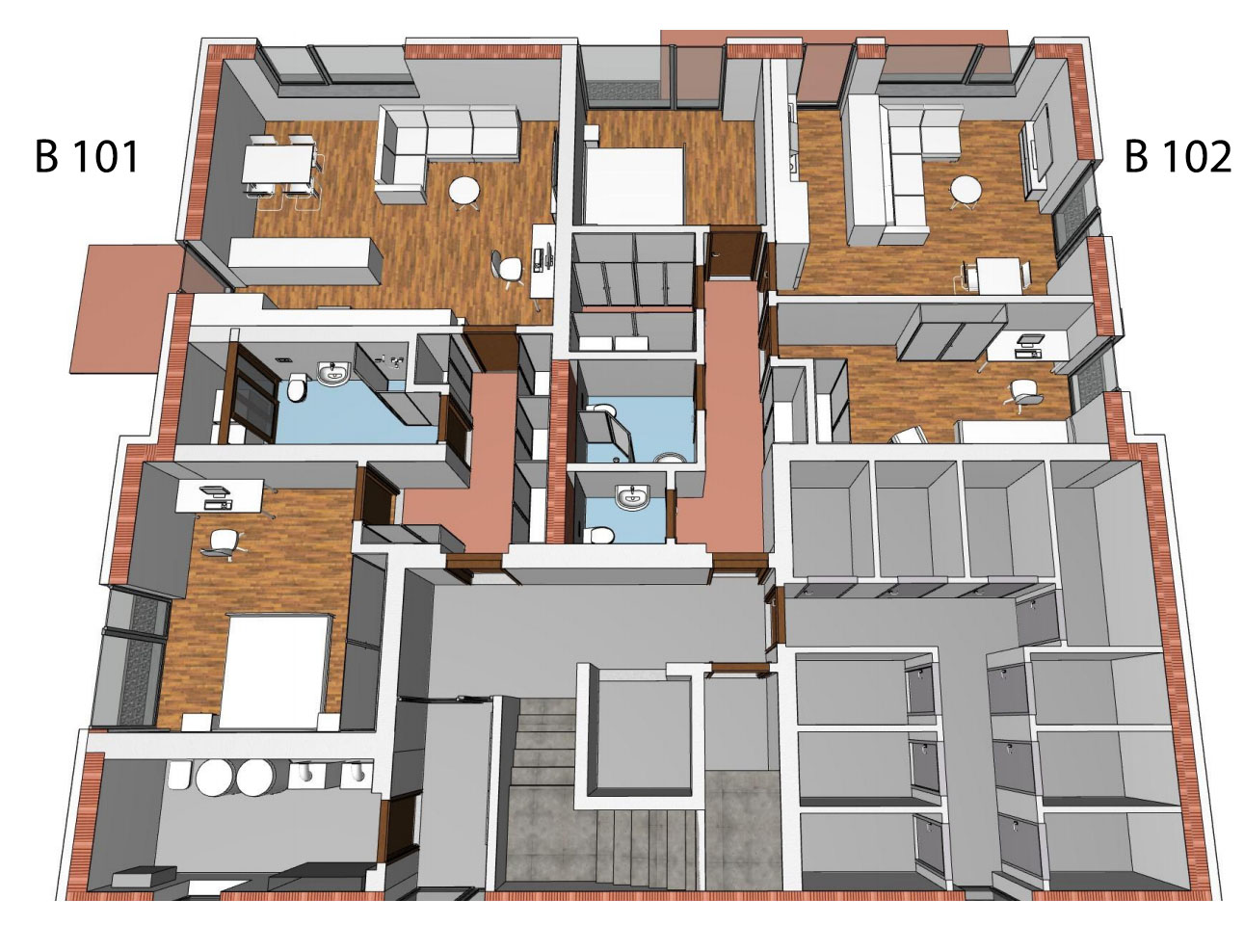 Půdorys 1.NP bytového domu B