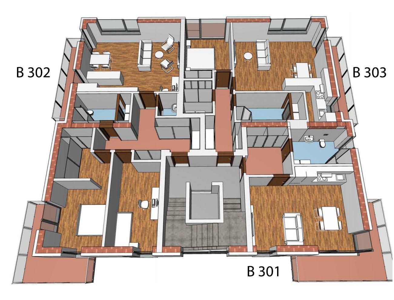 Půdorys 3.NP bytového domu B