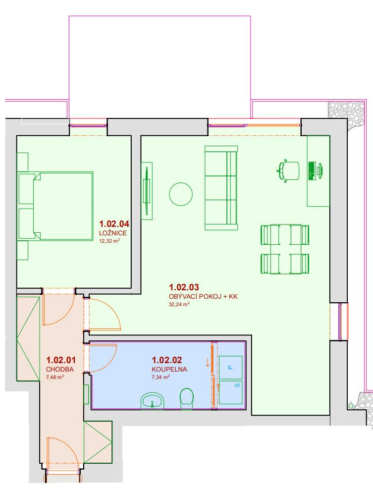 Půdorys bytu A102 Zelená rezidence Opatovice nad Labem