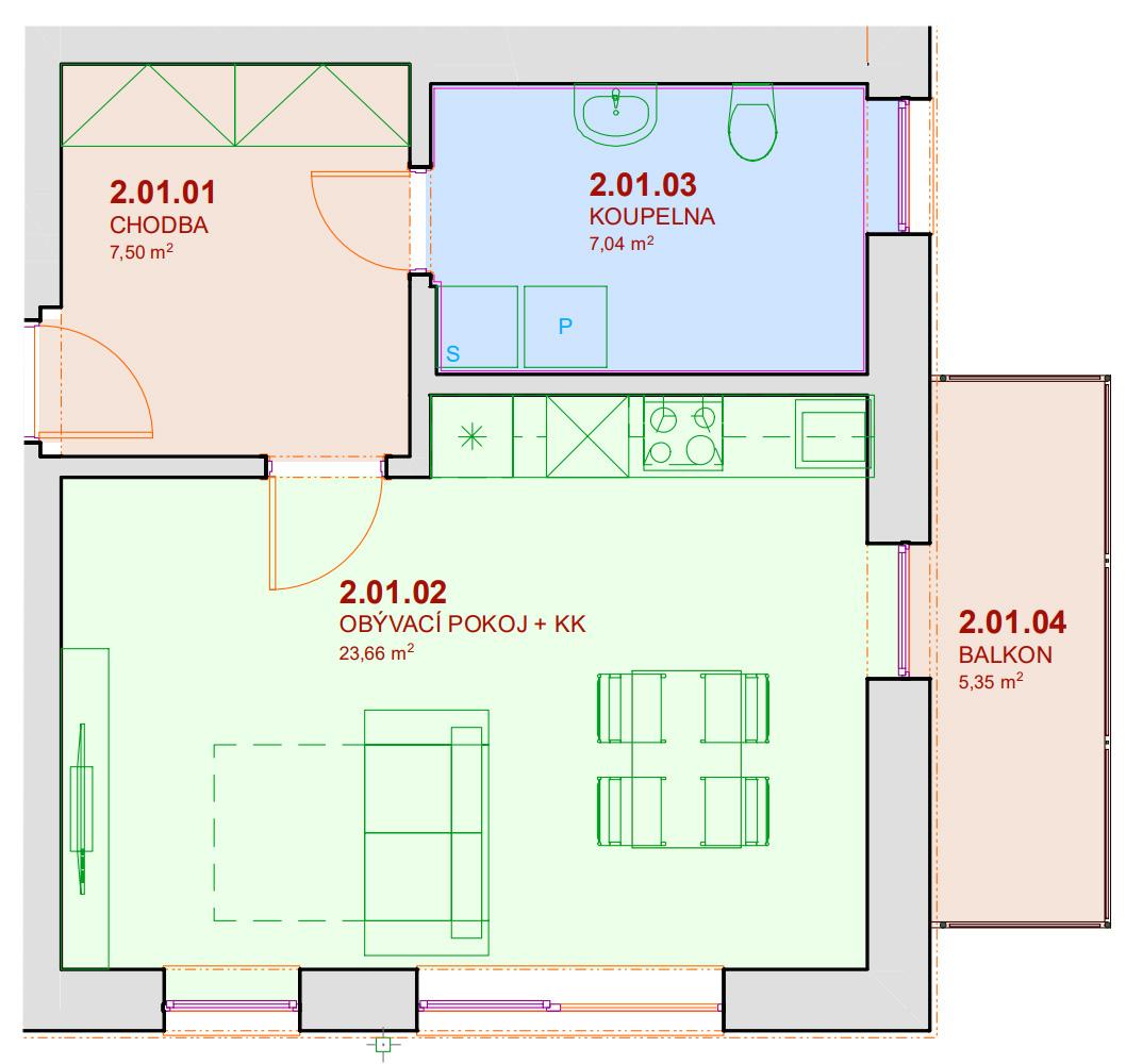 Půdorys bytu A201 Zelená rezidence Opatovice nad Labem