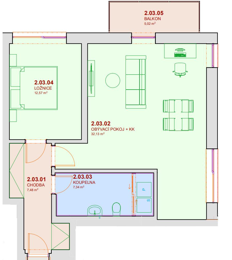 Půdorys bytu A203 Zelená rezidence Opatovice nad Labem