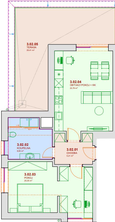 Půdorys bytu A302 Zelená rezidence Opatovice nad Labem