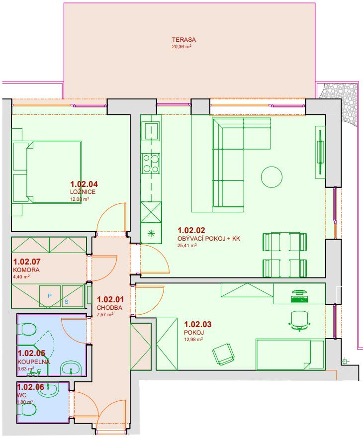 Půdorys bytu B102 Zelená rezidence Opatovice nad Labem