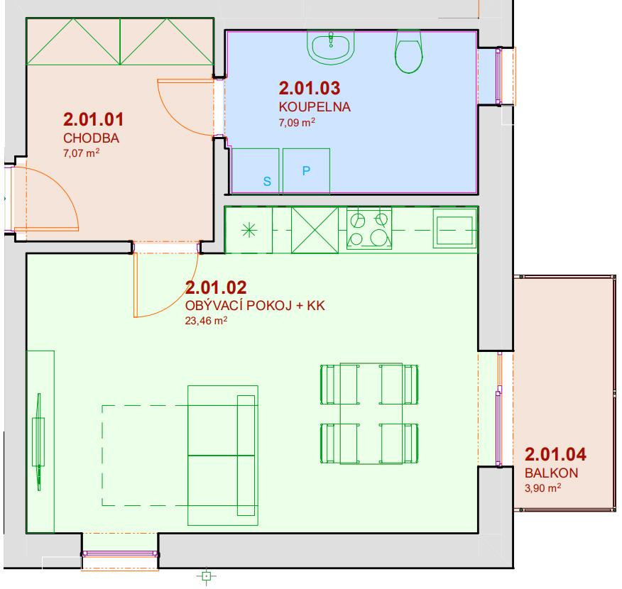 Půdorys bytu B201 Zelená rezidence Opatovice nad Labem
