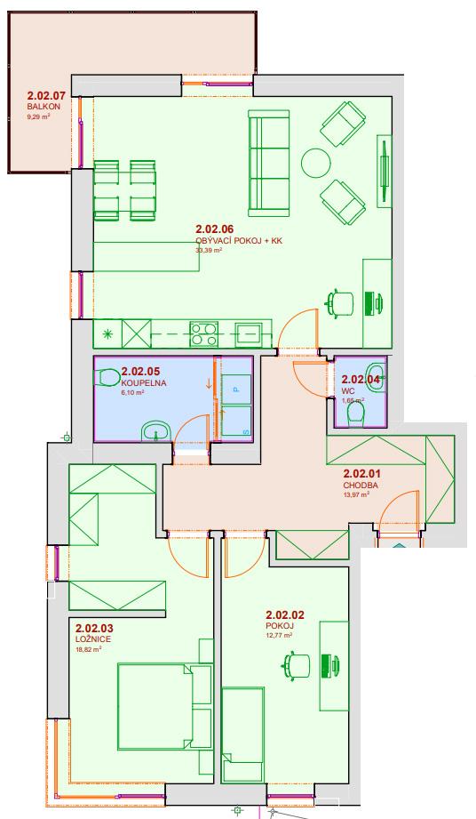Půdorys bytu B202 Zelená rezidence Opatovice nad Labem