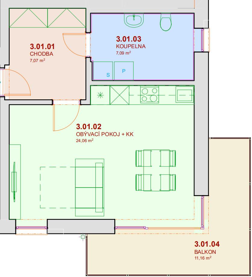 Půdorys bytu B301 Zelená rezidence Opatovice nad Labem