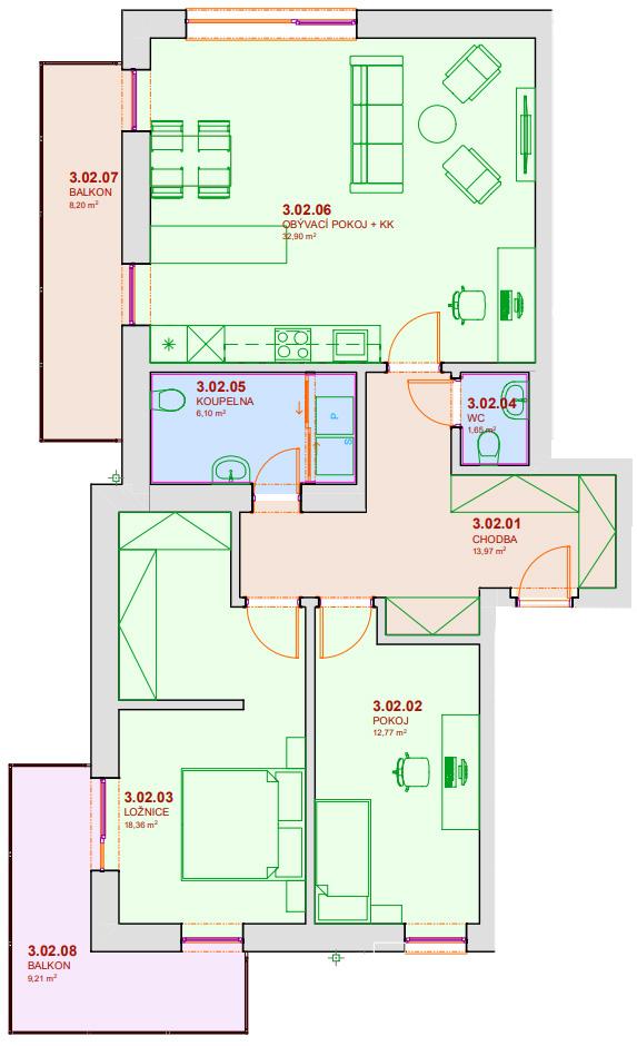 Půdorys bytu B302 Zelená rezidence Opatovice nad Labem