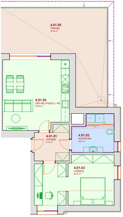 Půdorys bytu B401 Zelená rezidence Opatovice nad Labem