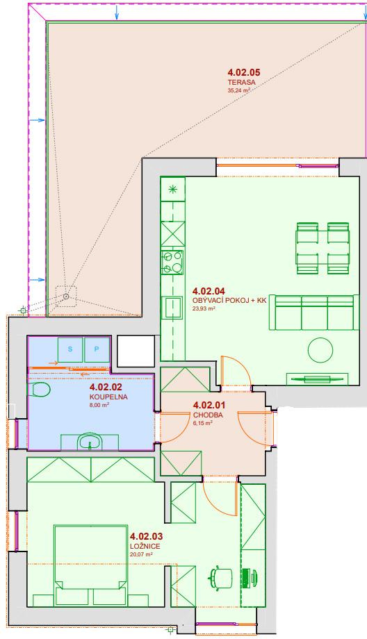Půdorys bytu B402 Zelená rezidence Opatovice nad Labem